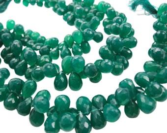 AAA Green Onyx Beads, Green Onyx Briolettes, Teardrops, SKU 3621