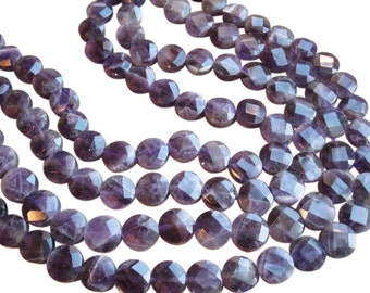 Amethyst Beads, Faceted Coin, Amethyst Coin, 12mm Coin, SKU 2484