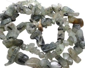 Prehnite Beads, Prehnite Chips, Sage Green Gemstone, Prehnite Nuggets, SKU 3445
