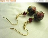Navy tensha earrings ... dark blue with red roses ... tensha bead love