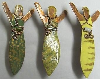 Angel Pin. Copper Goddess Pin, Copper Angel. ONSALE.