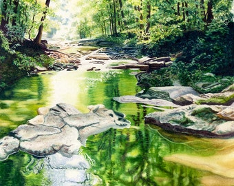 Creek Watercolor Landscape Painting Print by Cathy Hillegas, watercolor print, McCormick's Creek, watercolor trees, reflections, greenery
