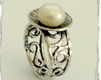 Silver Pearl ring, engagement ring, filigree band, large pearl ring, simple pearl ring, statement ring - Discovered Treasure R1554B