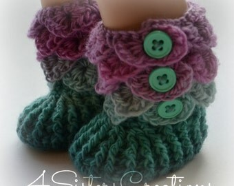 """American Girl Crocodile Stitch 'Sugar Cookie' Booties with Buttons -  18"""" Doll Size!!! Crochet Boots - Finished, Complete, Made and Ready !"""