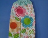 Think Spring/Spring Flowers Double Hanging Crocheted Kitchen Towel / Double Hanging Towel / Everyday Towel / Kitchen Towel / Double Hanging