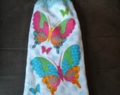 Spring Butterflies Double Hanging Crocheted Kitchen Towel/Everyday Towel/Hanging Kitchen Towel/Hanging Towel /Double Hanging Towel