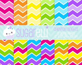 Chevron Digital Paper Pack Bright Colors 12 Scrapbook Papers Kawaii Stripes Instant Download Commercial Use