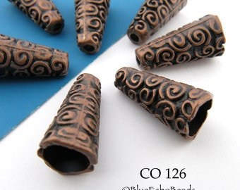 18mm Antique Copper Spiral Cone Bead Cap (CO 126) 6 pcs BlueEchoBeads
