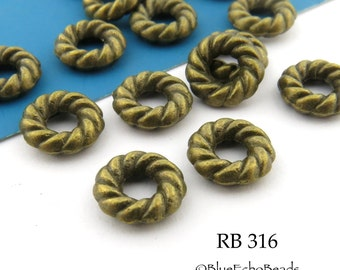 Small 8mm Antique Brass Bronze Twisted Jump Rings Connectors (RB 316) 15 pcs BlueEchoBeads