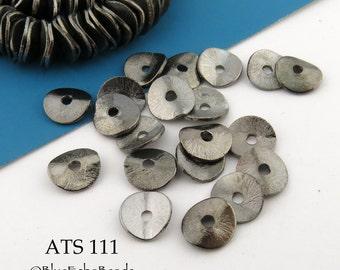 8mm Antique Silver Potato Chip Beads Wavy Disks (ATS 111) 12 pcs BlueEchoBeads
