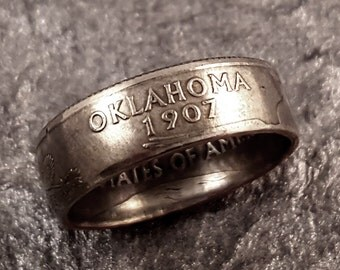 Oklahoma Coin Ring Quarter YOUR SIZE 5 to 10.5 MR0705-TSTOK
