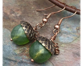 Acorn Harvest Earrings, Czech Glass, Antique Brass and Copper, Marta Weaver Jewelry, Ready to Ship, Free USA Shjpping