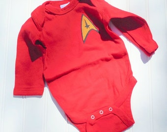 Great Halloween Costume READY TO SHIP Great Costume/Baby Star Trek inspired 100% cotton sewn long sleeve bodysuit with applique for bo