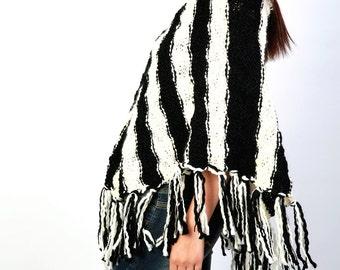 Hand Knit wool poncho shrug black white  stripe fringe capelet little cardigan