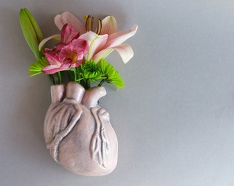 Human Heart Wall Vase - Anatomical heart wall vase in soft pink, holds water