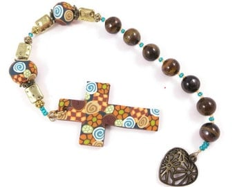 Tiger Eye Anglican Rosary Protestant Prayer Beads Chaplet Handmade Polymer Clay Focals Religious Christian Gift for Him Her