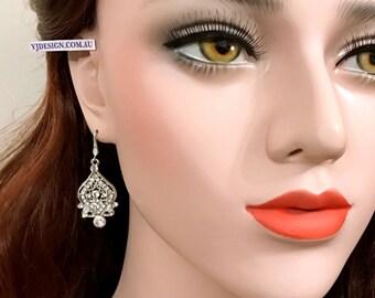 Victorian Wedding Earrings, Dangle Bridal Earrings, Bridal Jewelry, Swarovski Crystal Wedding Jewelry, Drop Earrings, Silver Earrings ALISHA