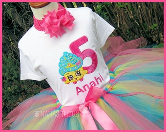 Cupcake  Shopkin  with Number,  Party Outfit, Birthday ,Tutu Set, Theme Parties in Size 1yr thru 5yrs