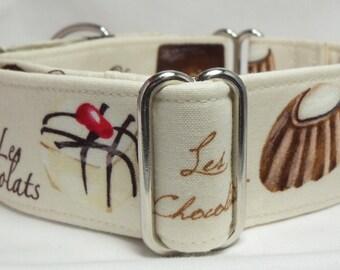 Les Chocolat Greyhound, Whippet, Galgo, Pit Bull, Dog Sighthound Martingale Collar