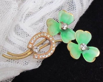 With a Little Bit of Luck - Clover & Horseshoe Vintage Brooch - 1950's