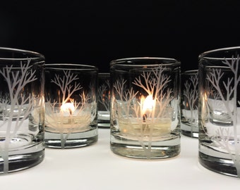 36 'Tree Branch' Candle Holders Autumn Wedding Favors Engraved Glass Votive Holders Fall Decor