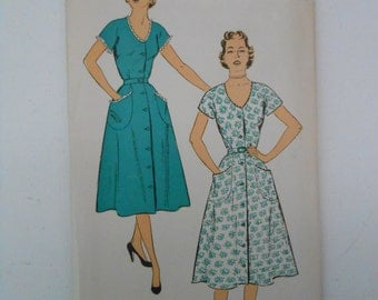 Vintage 50s Misses Trimmed Low Neck Shirtwaist Dress Pattern New York 1207 Size 18 Bust 36 UNCUT