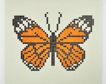 MONARCH BUTTERFLY : Lego Letterpress Print