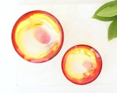 Pair of two.One large and one small resin salt and pepper spice pinch trinket dish bowls in red,yellow and white.