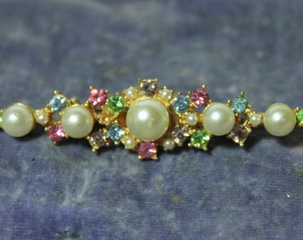 Vintage Brooch Bar Pin with Imitation Pearls, green, pink and purple jewels