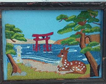 Vintage Antique Embroidered Small Deer Picture Framed