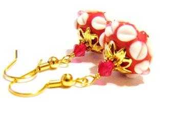 SALE, Cute Red & White Floral Lampwork Earrings, Raised Flower Earrings, Swarovski Crystals, Gold Earrings, Jewelry Gift For Her