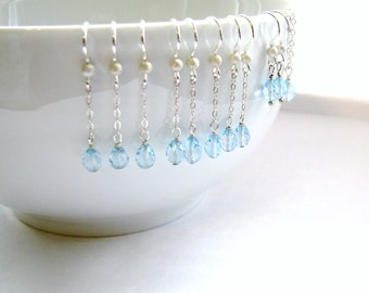 5 Pairs Blue Topaz Bridesmaid Earrings, and 1 Matching Blue Topaz Necklace, Sterling Silver, Bridesmaids Gifts, Spring Wedding, Blue Wedding