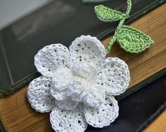 Crocheted Flower Bookmark White Gardenia Flower Handmade