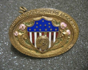 Antique 1911 National Woolgrowers Association Badge Pin Portland, Oregon Farming Sheep Goat Farm