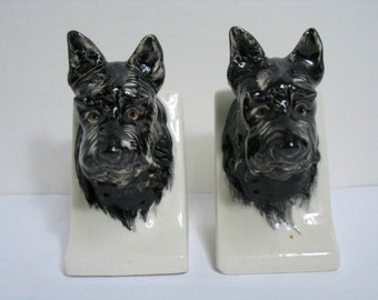 Vintage Scotty Dog Bookends MIJ Made In Japan Pre War Scottie Dog Bookends