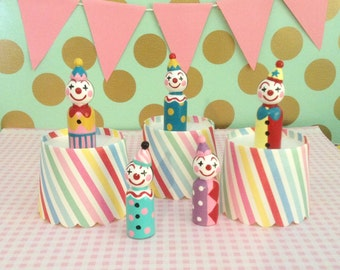 Five Wooden Clown Dolls/Circus Decorations/Carnival