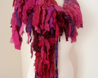 recycled silk  chiffon boho chic little tattered  scarf deep rich pinks purple handknitted by plumfish