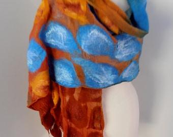 Nuno felted Merino Silk scarf wrap by plumfish turquoise rust