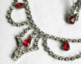 Vintage Rhinestone Necklace Earrings Red Crystal Bling Demi Sweetheart