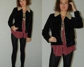 SALE SALE Black Velvet Jacket Vintage 90s Black Velvet Sherpa Lined GAP Shrunken Fit Jean Jacket (s m)