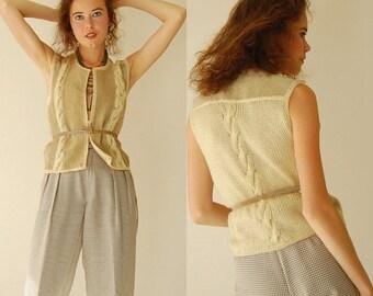 SALE SALE Suede Crop Vest Vintage 80s Cropped Suede Cable Knit Boho Indie Vest (s m)