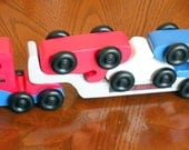 USA Motors car Carrier, Wooden car carrier, Red, White and Blue toy car carrier with 3 cars, Wood toy Truck and Car set 5 pc set
