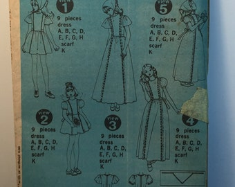Vintage 70s Simplicity 6242 Girls Dress And Scarf Size 7