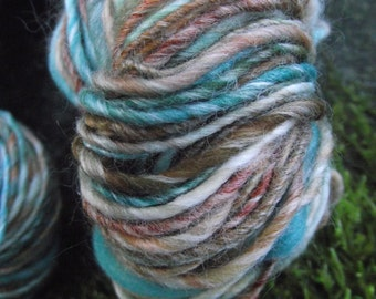 Handspun yarn, handpainted wool Merino wool and bamboo yarn, thick and thin worsted , multiple skeins available-Delos