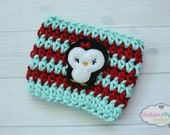 Crochet Coffee Cozy Striped Penguin, aqua, red  cup cozies, coffee sleeve, winter, christmas mug sweater, tea cup, planner mug