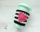 Crochet Coffee cozy Black, white hot pink heart Valentines day Cup cozies, coffee sleeve, tea ceramic plastic cups, planner