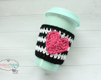 Crochet Coffee cup cozy Black, white hot pink heart Valentines day Cup cozies, coffee sleeve, tea ceramic plastic cups, planner