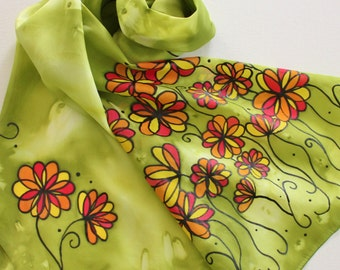 Hand Painted Silk Scarf - Handpainted Scarves Green Olive Avocado Red Yellow Orange Flowers Floral Autumn Fall Black