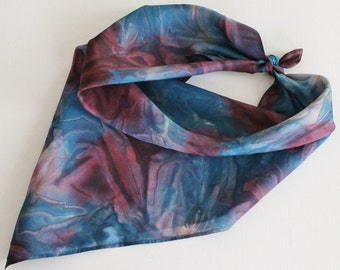 Hand Painted Silk Square Scarf - Hand Dyed Bandana Navy Dark Blue Maroon Burgundy Dark Red Wine Tan Beige Cream