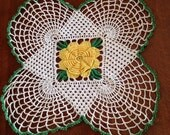 "Sale item, Vintage square doily, vintage crocheted doily, yellow flower doily, 9"" square"